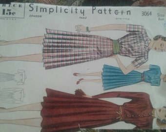 Vintage Retro 1940's Simplicity Dress pattern #3064 Size 16/34 Bust