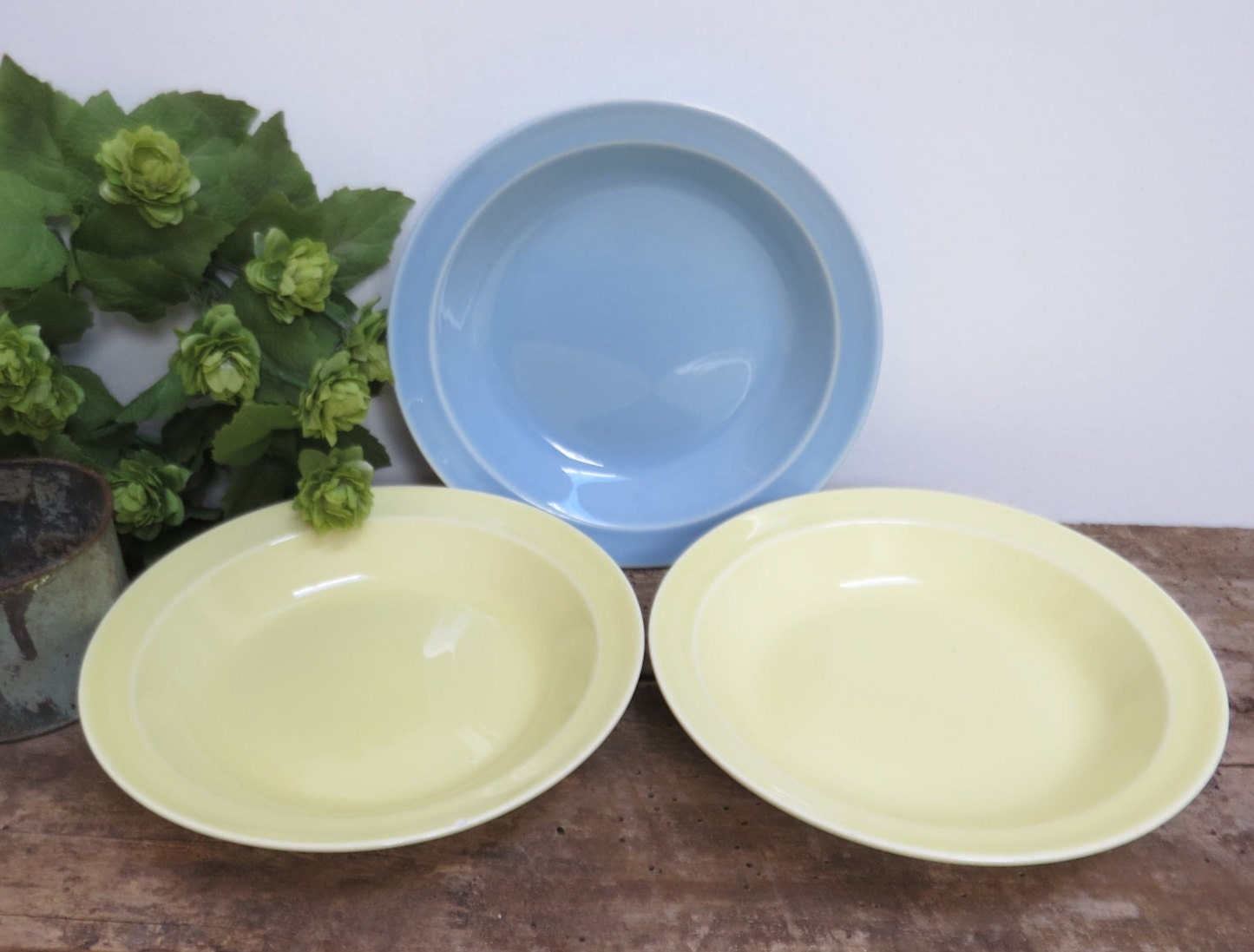 vintage lu ray pastel bowls set of three blue yellow dishes. Black Bedroom Furniture Sets. Home Design Ideas