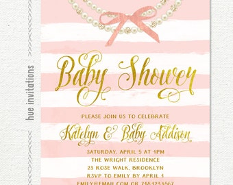 pearls and bow baby shower invitation for baby girl, pink stripes and gold foil baby shower invitation, customized digital invitation file