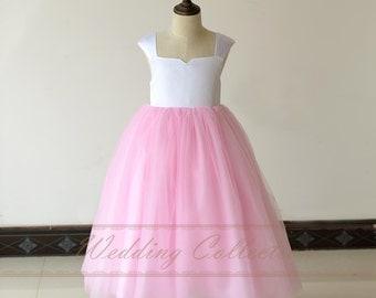 White and Pink Flower Girl Dress Tulle Skirt Cap Sleeves Tea Length