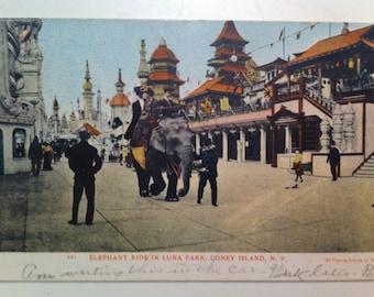 Vintage Coney Island Luna Park  Postcard N Y Elephant Ride in Luna Park