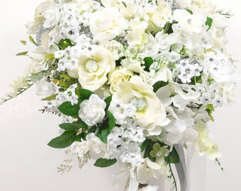 Silk Two piece brides WEDDING FLOWERS bouquet and boutonniere