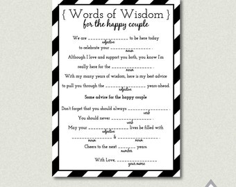 Printable Wedding Libs, Wedding Mad Libs, Reception Mad Libs, Guest Libs, Printable Wedding Games, Wedding Mad Lib Cards, Black and White