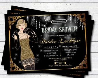Bridal shower invitation. great gatsby flapper black and gold glitter. Bachelorette party. Printable invitation. Printable Invite. BP003
