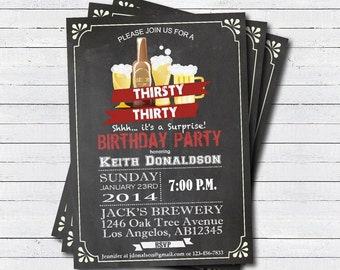 Surprise 30th birthday invitation. 30th birthday Retro beer chalkboard invite. Thirsty thirty printable adult birthday invitation. AB005