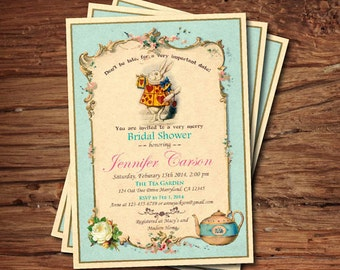 Bridal shower invitation. Mad Hatter tea party invitation. Turquoise Alice in wonderland tea party. Vintage afternoon tea garden party BS007