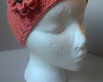 Crochet summer coral headband with detachable flower