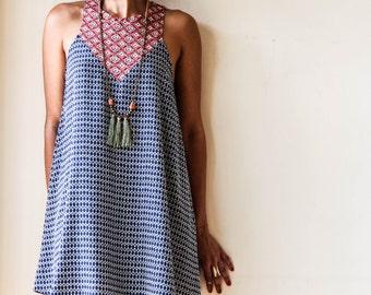 Blue Printed Midi Dress / Sleeveless Dress / Casual Dress / Mini Dress / Abstract Print Dress / Over Size Dress / Summer Dress - Tammy