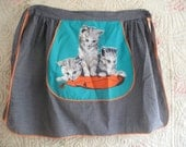Vintage apron with cats, c1960s mid century kitsch