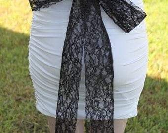 Black Lace Sash, Bridal Lace Sash, Wedding Accessory, Lace Bridal Belt, YOUR COLOR CHOICE