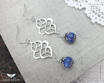 Blue Aventurine Earrings, Antiqued Silver Celtic Ear Rings, Denim Blue Gemstone, Art Nouveau Earrings, Celtic Jewellery, Handmade UK