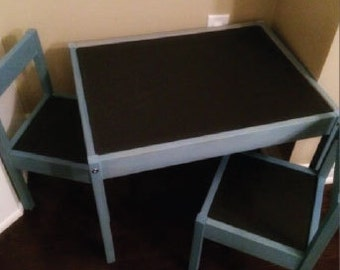 Custom Painted Children Table and Chairs with Chalkboard Table with 2 Chairs