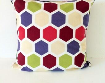 SALES - Printed cushion, hexagonal retro print, scandinavian, size 40x40 cm
