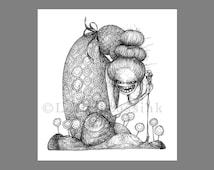 Gothic art card, Halloween art, spooky black & white illustration, witch of Hansel and Gretel, horror art, weird art, lowbrow pop surrealism