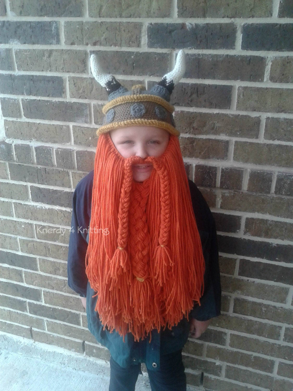 Crochet Viking Hat Bearded Viking Hat Ready to by Knerdy4Knitting