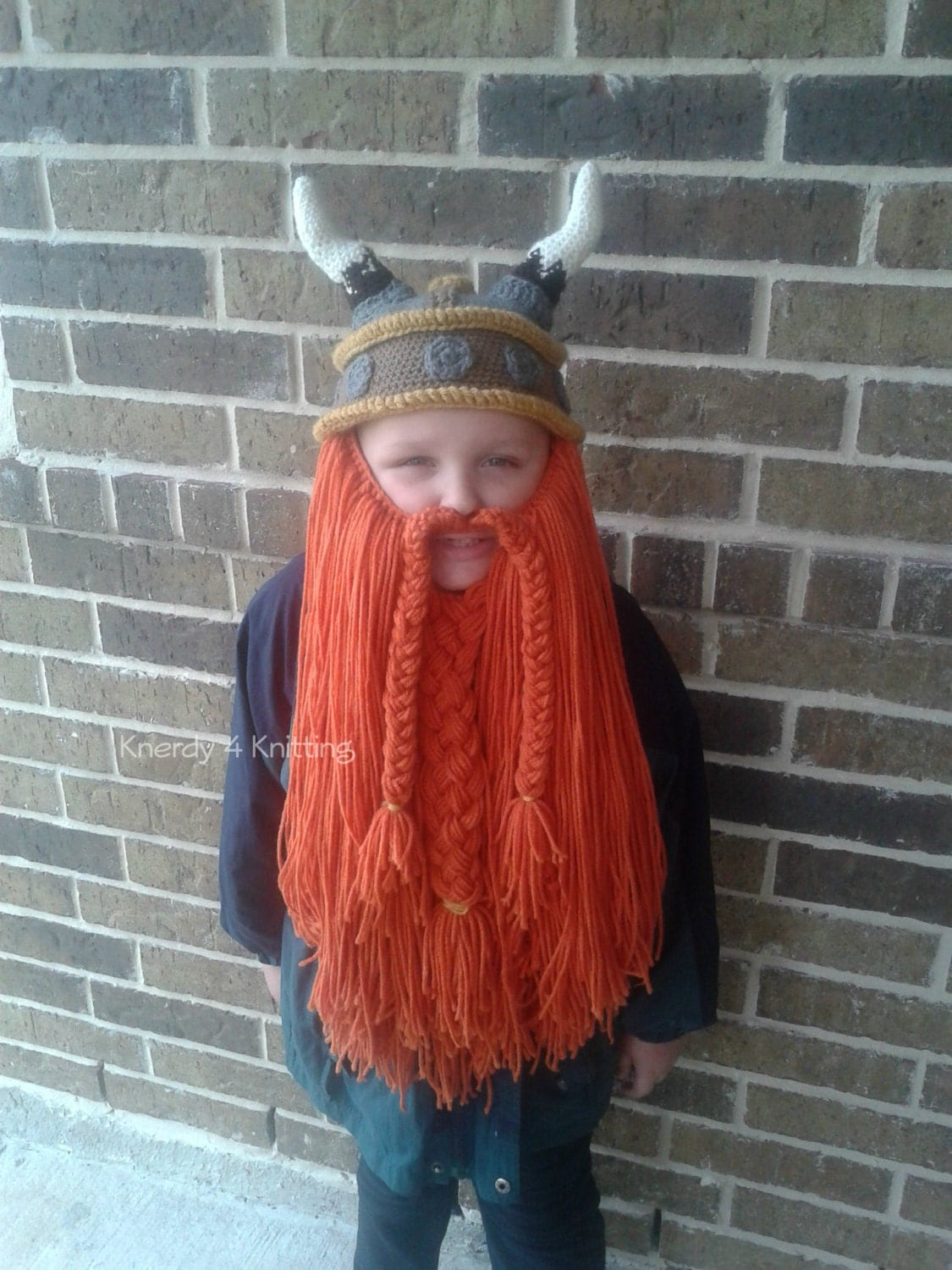 Crochet Viking Hat With Beard : Crochet Viking Hat Bearded Viking Hat Ready to by Knerdy4Knitting
