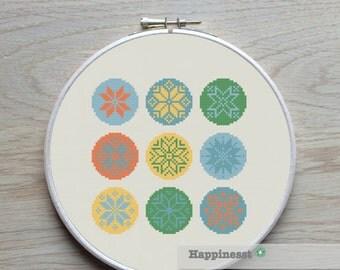 cross stitch pattern snowflakes, winter, christmas cross stitch, modern cross stitch, PDF ** instant download**