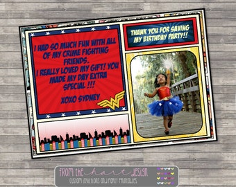 Wonder Woman Birthday Thank You Card, Comic, Marvel, Personalized, Superhero