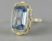 ART DECO beauty, aquamarine blue spinel and silver ring, statement ring, stacking ring, cocktail ring, antique vintage ring, gold plated.