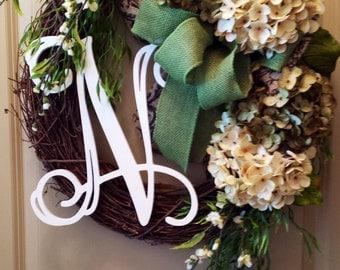 Green & Cream Hydrangea Wreath-Summer Wreath-Autumn Wreath-Front Door Initial Wreath-Chevron Burlap-Thank You-Front door wreath-Gifts