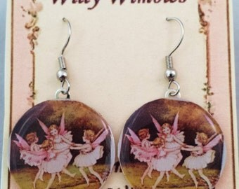 Handmade earrings with vintage picture of dancing fairies