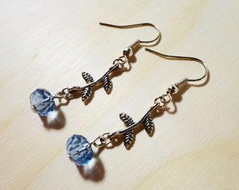 Beaded Flower Earrings, Periwinkle Blue Crystal Bead Earrings, Silver Dangle Earrings, Metal Drop Earrings, Beadwork Jewelry, Gift Idea