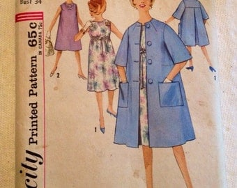 1960's Simplicity pattern 4837 Misses size 14 Maternity One-Piece Dress and Coat