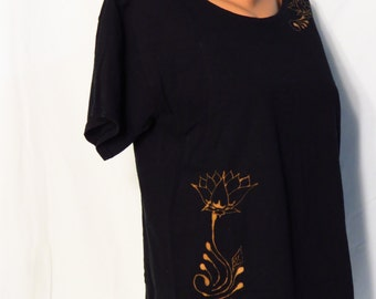 Altered Shirt - Bleached Black Floral - Adult Medium