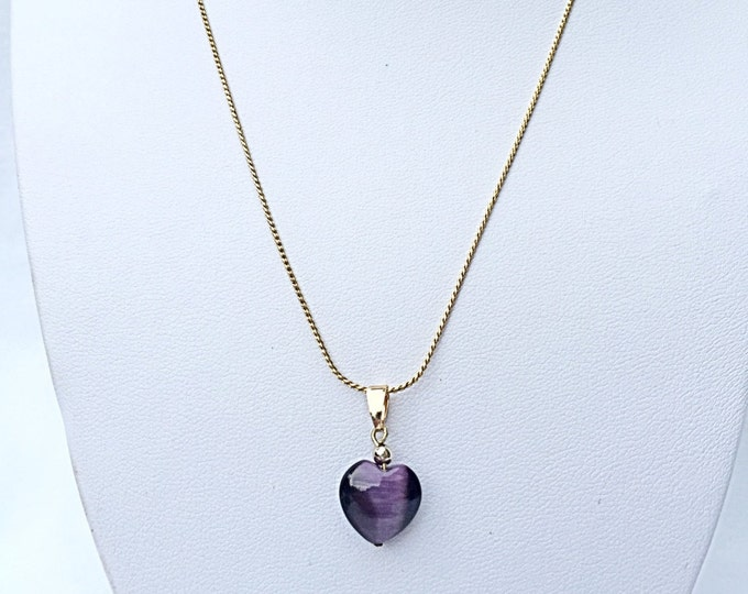 Purple Heart Necklace, 14k Gold Plated Necklace, Purple Necklace, Gold Necklace, Handmade Necklace, Necklace, Heart Necklace, Dark purple