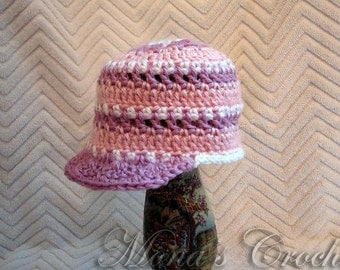 Hand Crocheted Baby Girl Pastel Newsboy Hat | Baby Hat | Newsboy Hat | Baby Shower Gift - Pink, Lavender and White - Size 3 to 6 Months