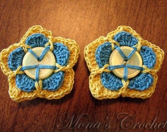 Hand Crocheted Button Double Petaled Flower Hair Barrettes - Yellow and Blue - Set of 2