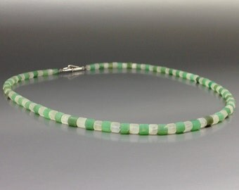 Necklace Chrysoprase and Moonstone with Sterling silver clasp - gift idea - fresh green and blue shining white color combination - natural