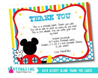 Mickey Thank you Cards, Printable Blank Thank you Cards,Vertical Thank You Cards, DIY Printable, Instant Download -D419 HBMC1