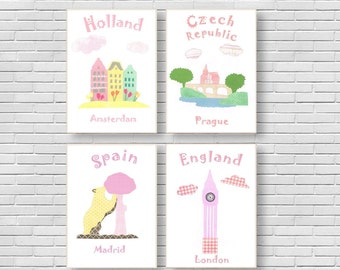 106,Oh,the places you'll go,Dr Seuss,baby girl room decor,nursery art print,travel nursery,pink nursery,Spain,Czech Republic,Denmark,Holland