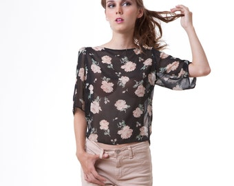Floral Rose Print Chiffon Puff Sleeve Blouse Shirt Top XS M L