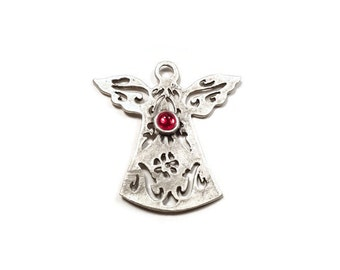 Silver Plated Brass Fretwork Angel Pendant, Red Glass Bead Detailed