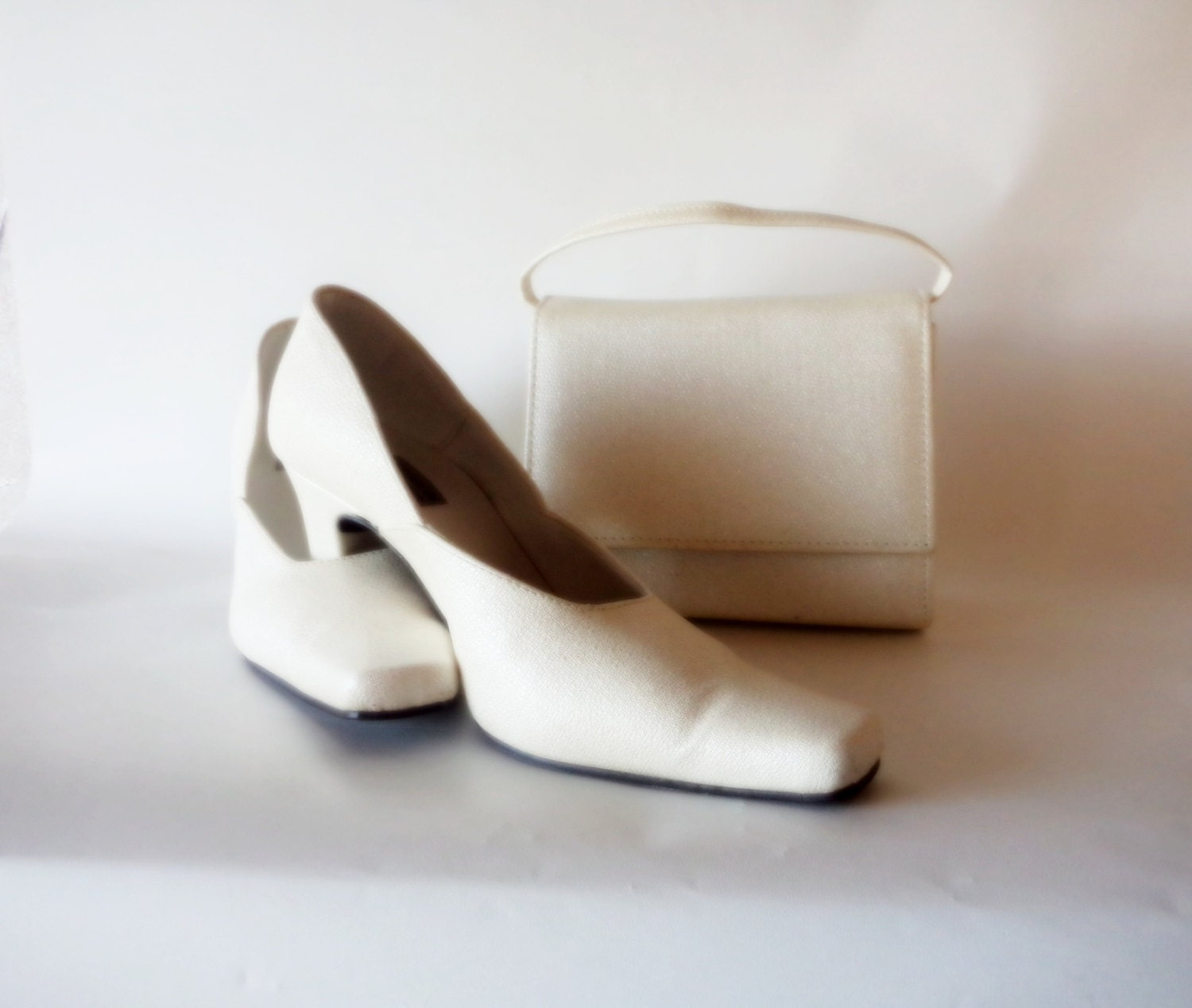Vintage White Bridal Shoes And Bag Set Wedding By YonniVintage
