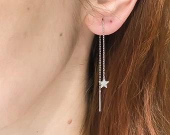 Star threader earrings sterling silver, tiny star ear chain earrings, minimalist ear thread earrings CE35