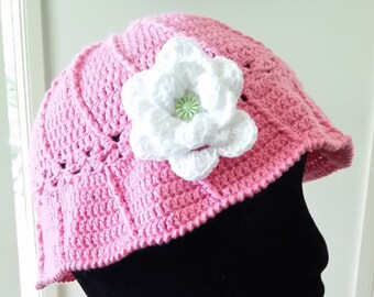 Girls- Little Girls Summer Hat with Flower -  Handmade- Made In Australia