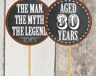 Rustic Chalkboard Party Circles Tags Labeld Stickers Pick Topperd Man, Myth, Legend - Men's Birthday Party-30, 40, 50, etc