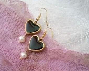 Black heart earrings.  heart earrings. black dangle earrings. everyday heart earrings. romantic earrings. vintage style black heart earrings