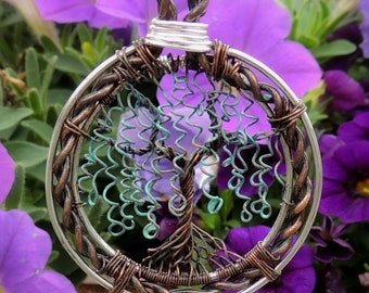 Oxidized Copper Willow Tree of Life Pendant