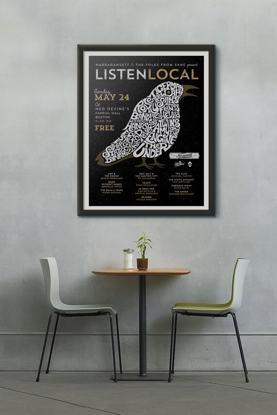 Listen Local 18x24 Screenprinted Gig Poster