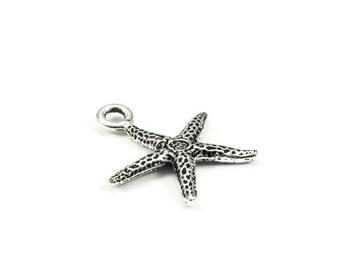 TierraCast Starfish Charm Beach Style 20mm Qty 3