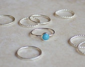 RESERVE for LAUREN Turquoise Stacking Ring 6mm with hammered texture
