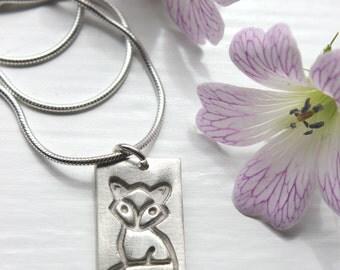 Silver fox necklace, fox pendant, animal jewelry, handmade necklace, Mr Fox, woodland jewellery, fox jewellery
