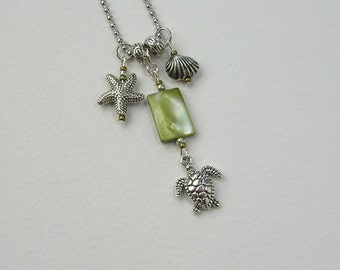 SALE!  Green Shell Charm Necklace,Turtle, Starfish, Seaside, Beach