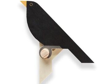 Wooden Blackbird wallhook, kids wallpeg, kids coatpeg