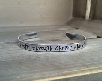 Philippians 4:13 / I Can Do All Things Through Christ Who Strengthens Me / Bible Verse Bracelet / Scripture Bracelet / Confirmation
