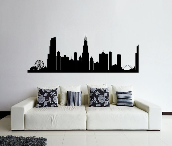 Chicago wall decal chicago skyline decal cities by for Good look chicago skyline wall decal